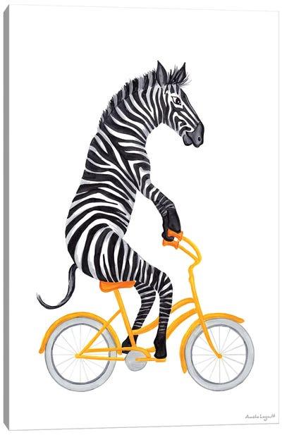 Zebra On Bike Canvas Art Print