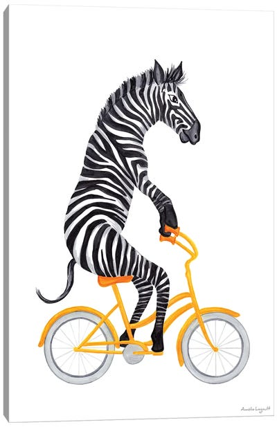 Zebra On Bike Canvas Art Print