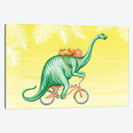 Brontosaurus On Bike Canvas Print #LGL4} by Amélie Legault Canvas Print