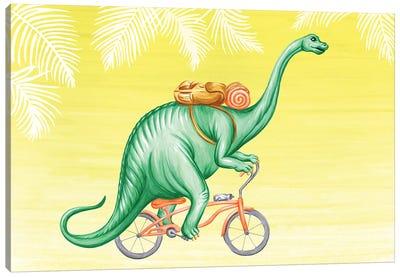 Brontosaurus On Bike Canvas Art Print