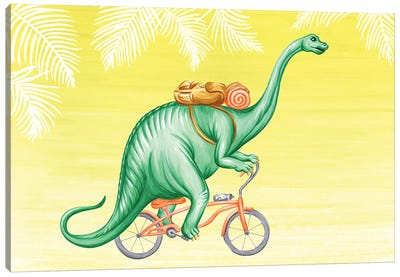 Brontosaurus On Bike Canvas Art Print