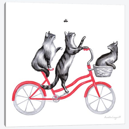 Cats On Bike Canvas Print #LGL5} by Amélie Legault Canvas Art Print