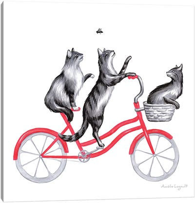 Cats On Bike Canvas Art Print