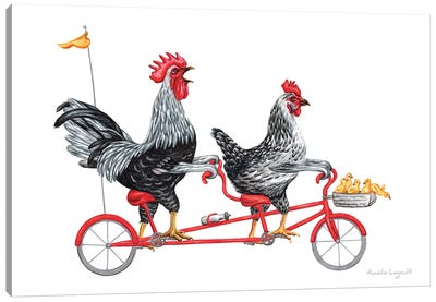Chickens On Bike Canvas Art Print