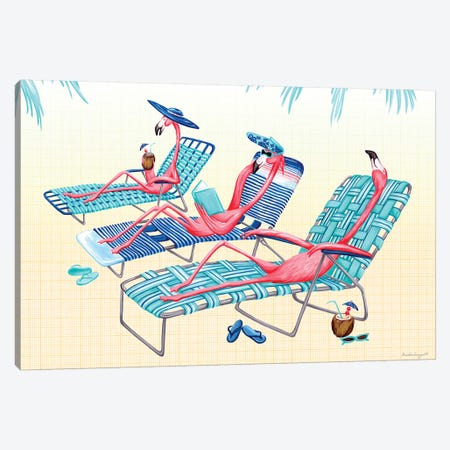 Flamingos Beach Canvas Print #LGL7} by Amélie Legault Art Print