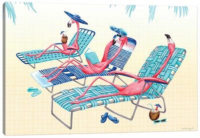 Flamingos Beach Canvas Art Print