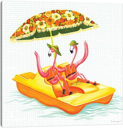 Flamingos Pedal Boat Canvas Art Print