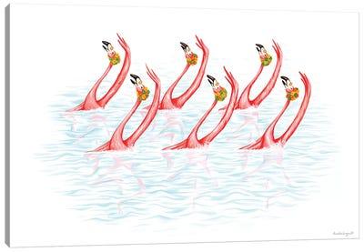Flamingos Synchro Swim Canvas Art Print