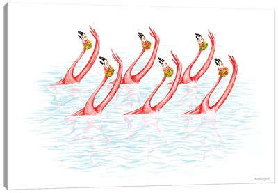 Flamingos Synchro Swim Canvas Art Print