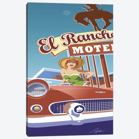 El Rancho Canvas Print #LHR16} by Larry Hunter Art Print