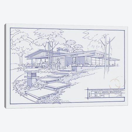301 Cypress Dr. Blueprint Canvas Print #LHR22} by Larry Hunter Canvas Art Print