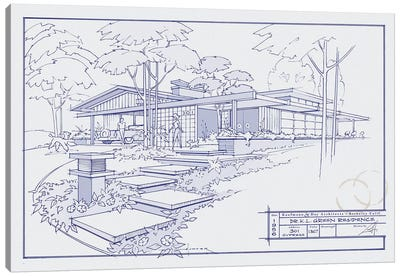 301 Cypress Dr. Blueprint Canvas Art Print