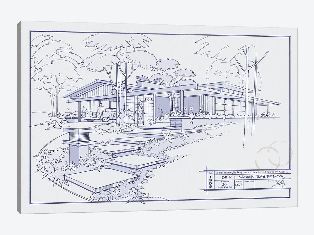301 Cypress Dr. Blueprint by Larry Hunter 1-piece Canvas Print