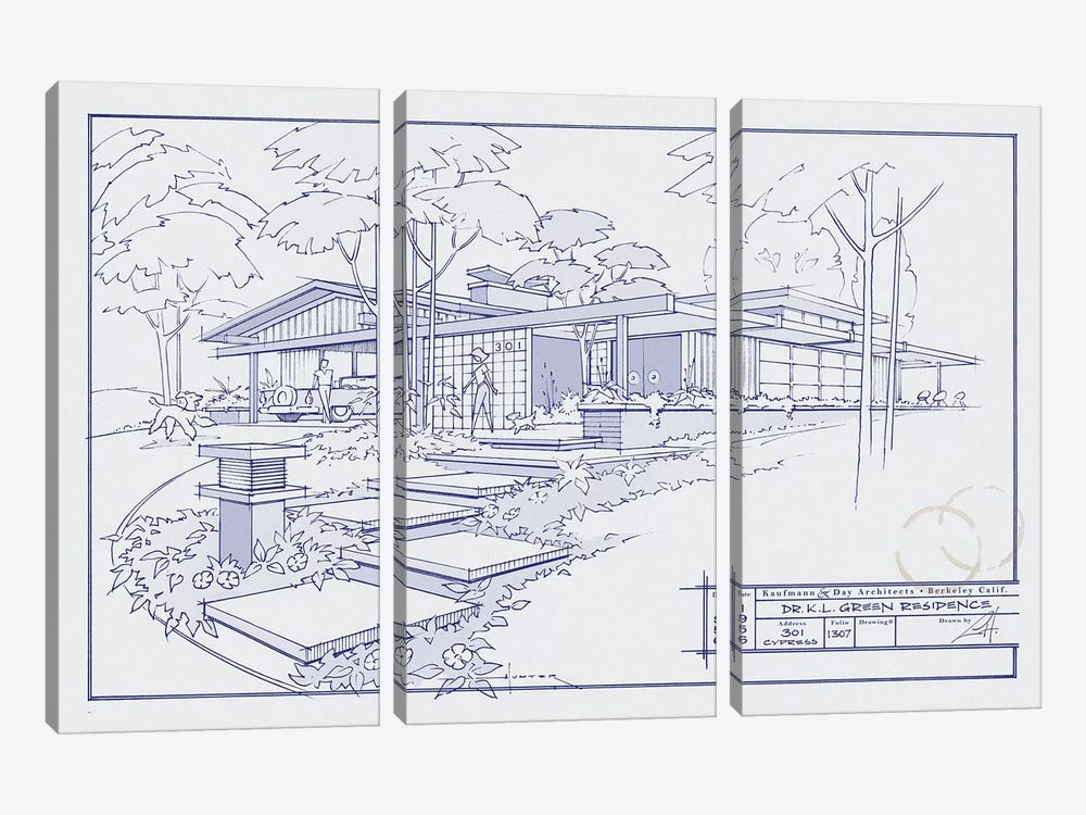 301 Cypress Dr. Blueprint 3-piece Art Print