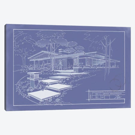 301 Cypress Dr. Blueprint Inverse Canvas Print #LHR23} by Larry Hunter Canvas Print