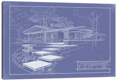 301 Cypress Dr. Blueprint Inverse Canvas Print #LHR23