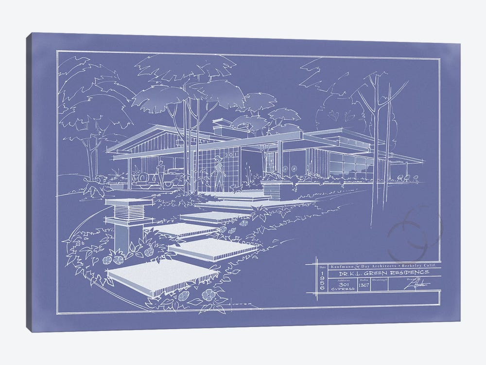 301 Cypress Dr. Blueprint Inverse by Larry Hunter 1-piece Canvas Art