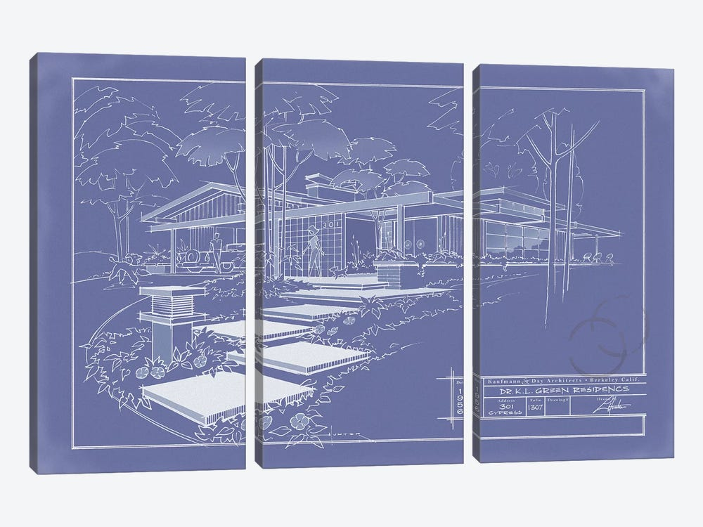 301 Cypress Dr. Blueprint Inverse 3-piece Canvas Wall Art