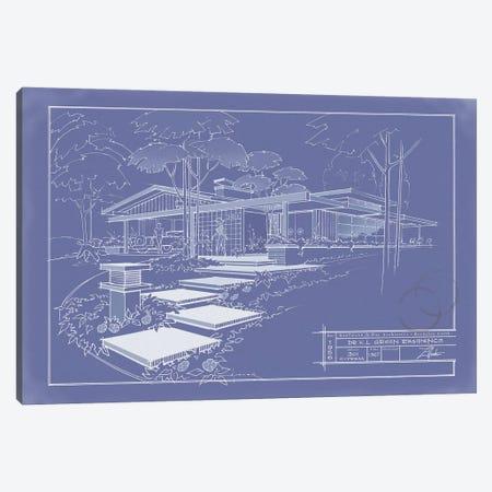 301 Cypress Dr. Blueprint Inverse Canvas Print #LHR23} by Larry Hunter Canvas Print