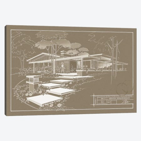 301 Cypress Dr. Sepia Inverse Canvas Print #LHR26} by Larry Hunter Canvas Artwork