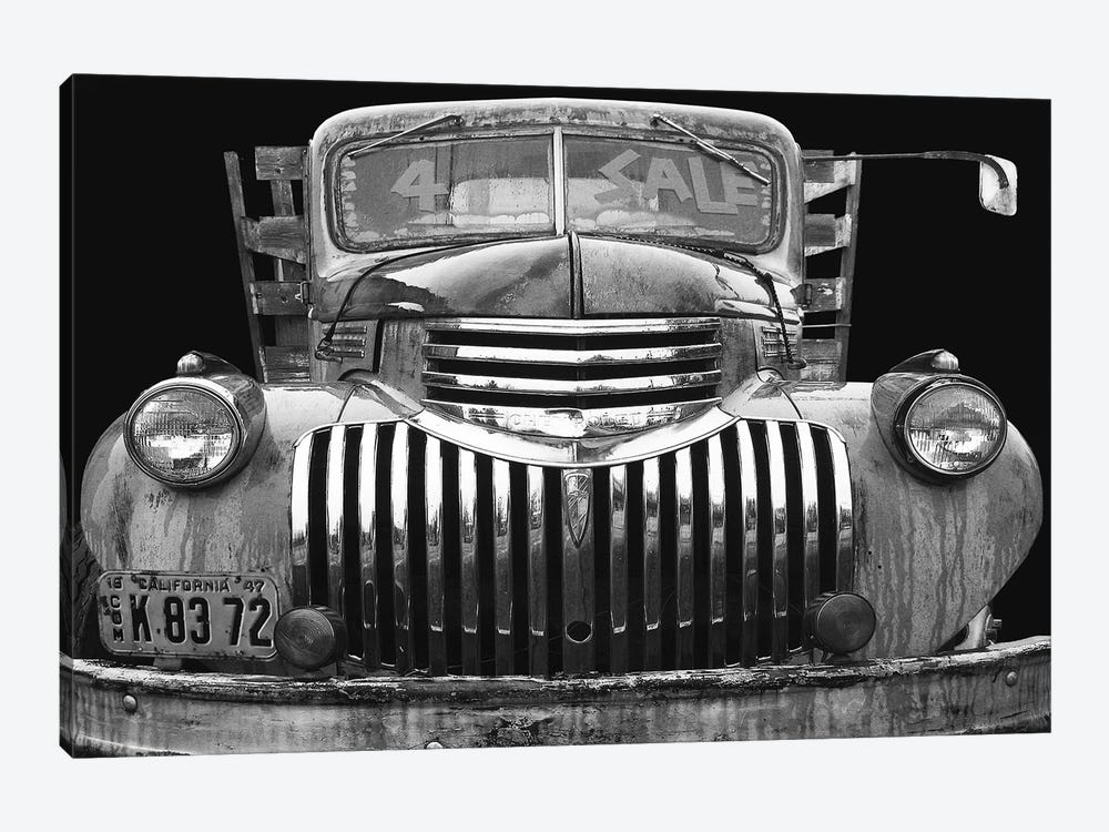 Chev 4 Sale Black and White by Larry Hunter 1-piece Canvas Artwork
