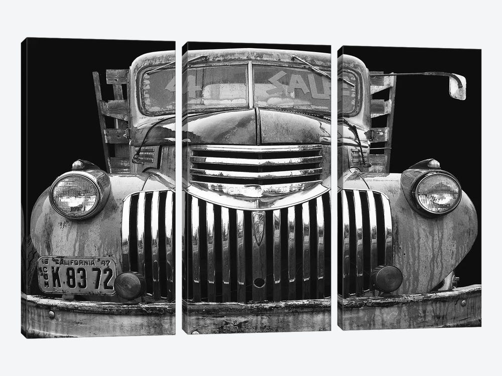 Chev 4 Sale Black and White by Larry Hunter 3-piece Canvas Wall Art