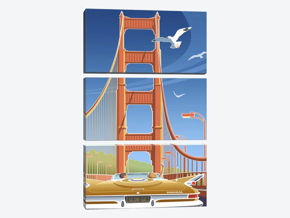 Golden Gate by Larry Hunter 3-piece Canvas Print