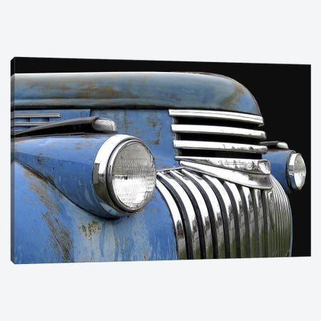 Chevy Grill Blue Canvas Print #LHR4} by Larry Hunter Canvas Print