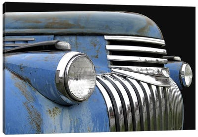 Chevy Grill Blue Canvas Art Print