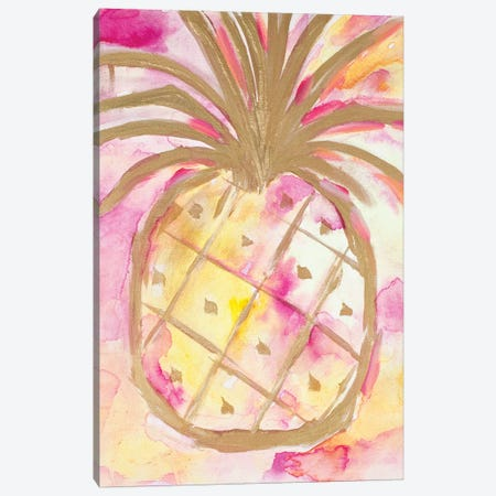 Pink Gold Pineapple Canvas Print #LHW12} by L. Hewitt Canvas Art Print