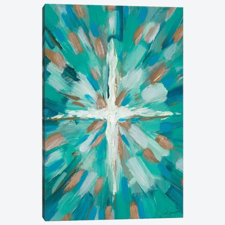 Teal Glory Canvas Print #LHW14} by L. Hewitt Canvas Artwork