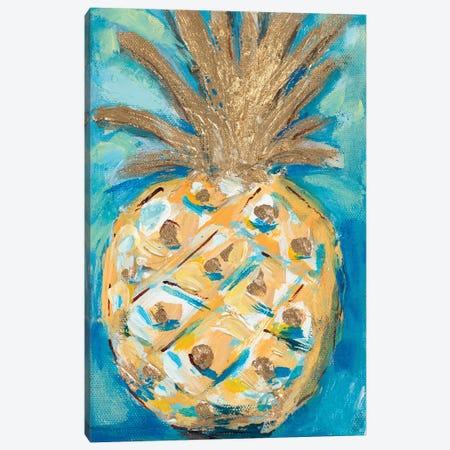Blue Gold Pineapple Canvas Print #LHW2} by L. Hewitt Canvas Art Print