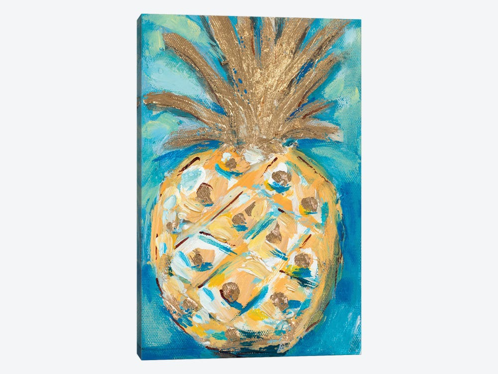 Blue Gold Pineapple 1-piece Canvas Wall Art
