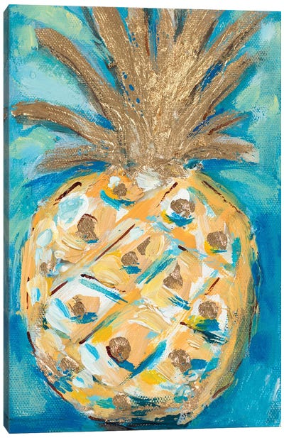 Blue Gold Pineapple Canvas Art Print