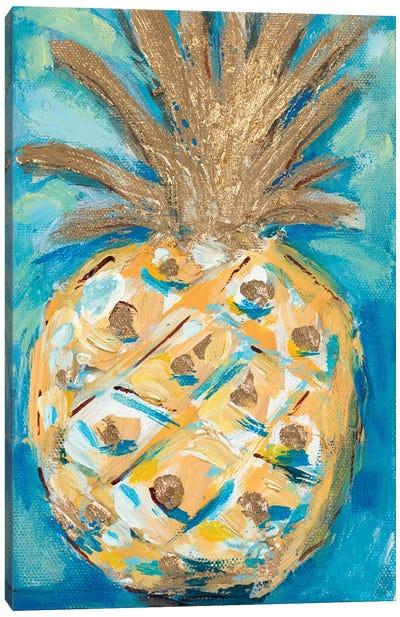 Blue Gold Pineapple Canvas Art Print