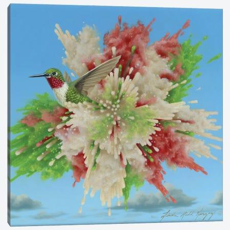 Hummingbird Explosion Canvas Print #LHZ11} by Linda Ridd Herzog Canvas Artwork