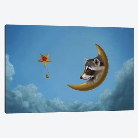 Raccoon Moon Canvas Print #LHZ15} by Linda Ridd Herzog Art Print