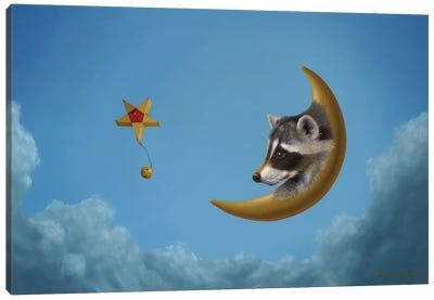 Raccoon Moon Canvas Art Print