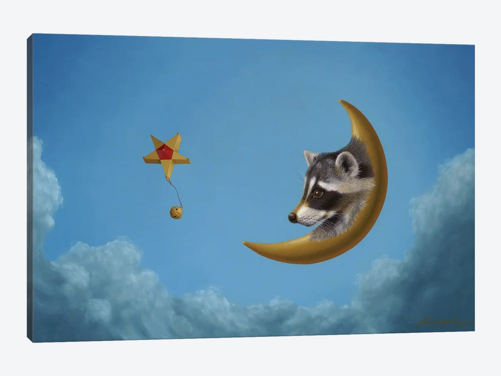 Raccoon Moon by Linda Ridd Herzog 1-piece Canvas Art