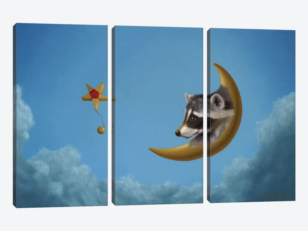 Raccoon Moon by Linda Ridd Herzog 3-piece Canvas Art