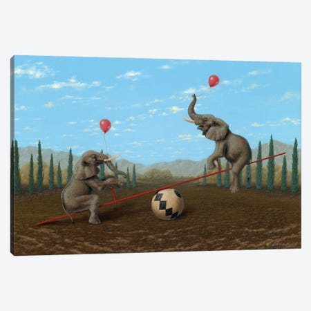 Ed Loves It When He Is Up Canvas Print #LHZ29} by Linda Ridd Herzog Art Print