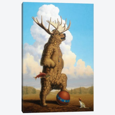 When Griz Grew Up He Wanted To Be A Moose Canvas Print #LHZ35} by Linda Ridd Herzog Art Print