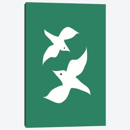 Love Birds In Green Canvas Print #LIG19} by Linda Gobeta Canvas Wall Art