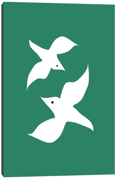 Love Birds In Green Canvas Art Print
