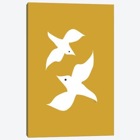 Love Birds In Mustard Canvas Print #LIG20} by Linda Gobeta Canvas Print