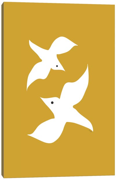 Love Birds In Mustard Canvas Art Print