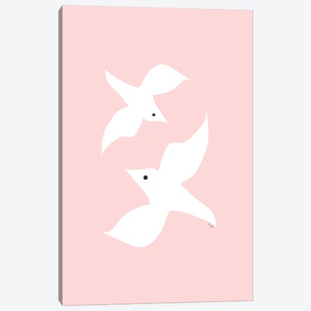 Love Birds In Pink Canvas Print #LIG21} by Linda Gobeta Canvas Print