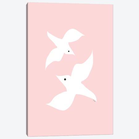 Love Birds In Pink Canvas Print #LIG21} by Linda Gobeta Canvas Print