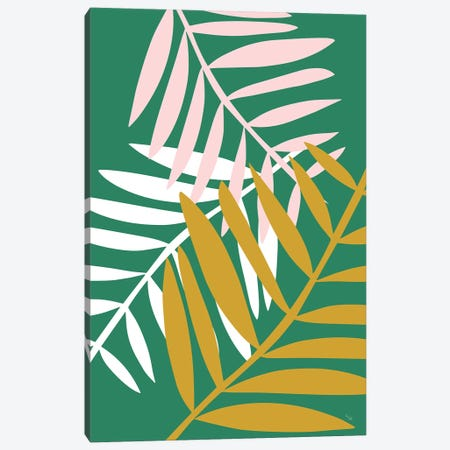 Palm Leaves In Green Canvas Print #LIG25} by Linda Gobeta Canvas Art