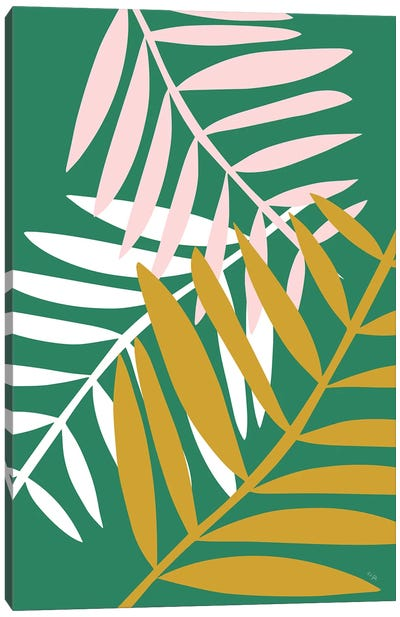 Palm Leaves In Green Canvas Art Print